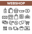 webshop online shopping linear icons set vector image