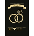 Wedding invitations with gold glitter texture ring vector image