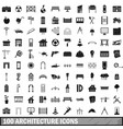 100 architecture icons set simple style vector image vector image