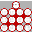 2013 red circles calendar vector image