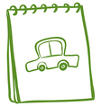 A green notebook with a car at the cover page vector image vector image
