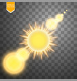 abstract gold sun and energy ring on transparent vector image