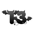 banner demonic number 13 black figure with wings vector image