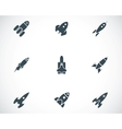 black rocket icons set vector image