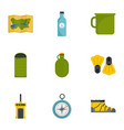 camping icon set flat style vector image