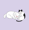cartoon cute cat and dog sleeping vector image