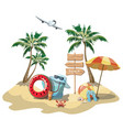 cartoon island in sea with luggage vector image vector image