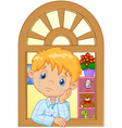 Cartoon little boy cry and watching out the window vector image vector image