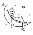 cartoon of man sitting on the crescent moon vector image