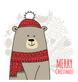 christmas card with white santa bear vector image