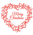 christmas heart wreath vector image