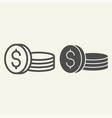 coins line and glyph icon dollars vector image