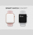 concept of two colored smart watches - pink and vector image