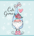 cute cartoon gnome on a blue background vector image