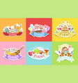 cute holiday stickers set colorful badges vector image
