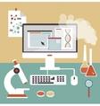 desktop scientist chemist vector image vector image