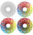 Four shapes as a wicker patterns vector image vector image