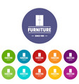 furniture cabinet icons set color vector image vector image