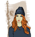 girl in the big city vector image vector image