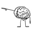 human brain cartoon character pointing at vector image