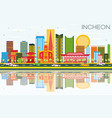 incheon skyline with color buildings blue sky and vector image vector image