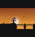 landscape of halloween with bridge vector image vector image