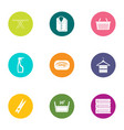 linen icons set flat style vector image vector image