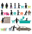 MEN AND WOMEN GO SHOPPING vector image
