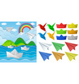 ocean scne and paper origami in different objects vector image