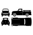 old pickup truck black icons vector image vector image