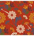 Oriental flowers seamless pattern vector image