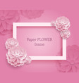 paper flower rectangular rame pink background vector image vector image