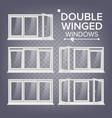plastic window double-winged white pvc vector image vector image