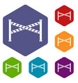 police line icons set hexagon vector image vector image