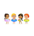 pool party characters multiracial boys and girls vector image vector image