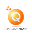 q letter splash orange dots and circle bubble vector image vector image