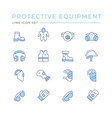 set color line icons protecting equipment vector image vector image