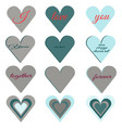 set of hearts of different pastel colors vector image