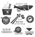 set of sushi labels Japanese food vector image vector image