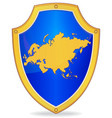 shield with silhouette of eurasia vector image vector image