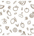 sketch of mix cute fruits seamless pattern vector image vector image