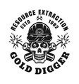 skull gold miner and crossed dynamites vector image vector image
