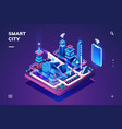smart city or isometric town with iot or gps tech vector image vector image