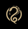 snake dragon round logo symbol on a dark vector image vector image