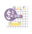 super sale modern banner in memphis style vector image vector image