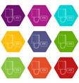 tonometer icons set 9 vector image