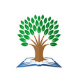 tree of knowledge logo open book and tree vector image vector image