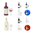 types of alcohol cartoonblackflatmonochrome vector image vector image