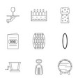 wine icon set outline style vector image vector image