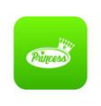 word princess crown icon green vector image vector image